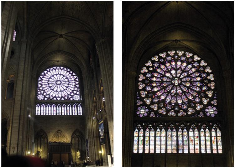 กระจกสี เกี่ยวกับเรื่องราวของพระเยซูและคริสต์ประวัติ ซึ่งกระจกสีนี้ได้รับอิทธิพลจากศิลปะแบบแนทเชอราลลิสม์