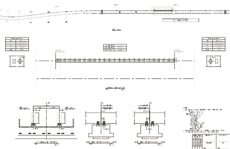 แบบตัวอย่างค่า Span Layout ที่ใช้ในการทำ Geometry Control ของGuideway Beam