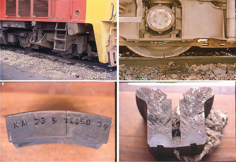 """ตัวอย่างความชำรุดของปลอกล้อรถไฟ ที่เกิดจากผู้ผลิต (เริ่มแตกจากขอบล้อที่ตัว """"T"""" ซึ่งตอกลึกและคมเกินไป)"""