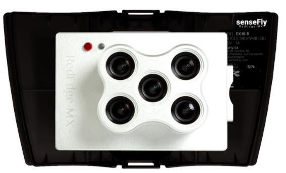 ภาพแสดงกล้องที่ใช้ในการบินเก็บข้อมูล